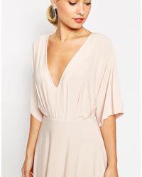 ASOS | Pink Kimono Plunge Midi Dress | Lyst