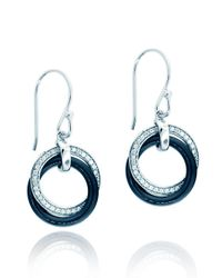 Lord & Taylor | Sterling Silver Black Ceramic Pave Circles Earrings | Lyst