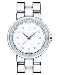 Movado - Metallic 'cerena' Diamond Bezel Ceramic & Steel Bracelet Watch - Lyst