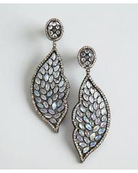 Amrapali   Metallic Moonstone and Diamond Leaf Drop Earrings   Lyst