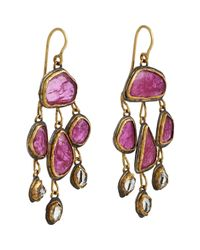 Judy Geib - Purple Ruby & Herkimer Diamond Flat-drop Earrings - Lyst