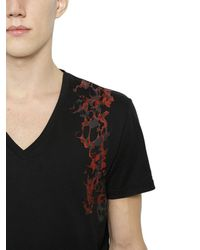 Alexander McQueen | Black Harness Printed Cotton V-neck T-shirt for Men | Lyst