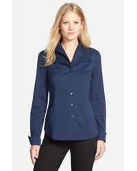 NYDJ   Blue Fit Solution Double Collar Shirt   Lyst