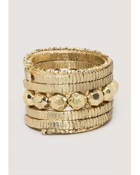 Bebe | Metallic Beaded Coil Wrap Bracelet | Lyst