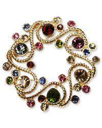 Jones New York | Metallic Gold-tone Multi-color Stone Wreath Pin Box | Lyst