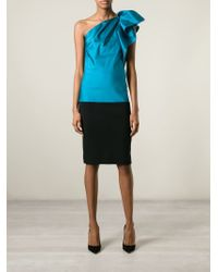 Lanvin - Blue One Shoulder Top - Lyst