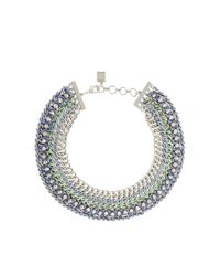 BCBGMAXAZRIA | Green Woven-chain Spike Necklace | Lyst