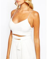 Love | Natural Crop Top With Lace Up Detail Strap Back | Lyst