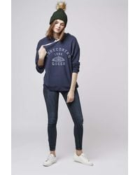 TOPSHOP - Blue Homecoming Sweatshirt By Project Social T - Lyst