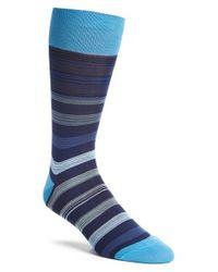 Bugatchi - Blue 'stripe Within Stripe' Socks for Men - Lyst