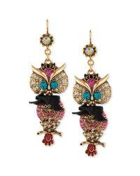 Betsey Johnson - Metallic Antique Goldtone Owl Drop Earrings - Lyst