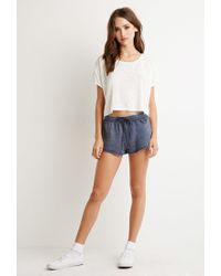 Forever 21 | Blue Heathered Drawstring Shorts | Lyst