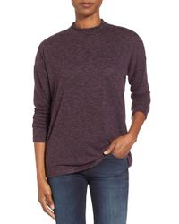 Bobeau | Purple Mock Neck Top | Lyst