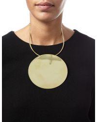 Carven   Metallic Brass Collier Disc Necklace   Lyst