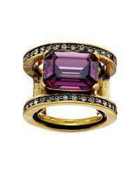Oscar de la Renta | Metallic Octagon Stone Ring | Lyst