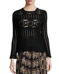 Étoile Isabel Marant - Black Heloise Crocheted Long-sleeve Sweater - Lyst