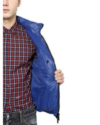 DSquared² | Blue Nylon Down Jacket With Logo Detail for Men | Lyst