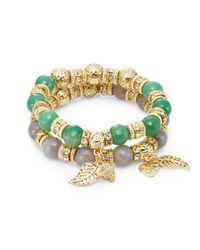 Saks Fifth Avenue | Dyed Quartz & Beaded Charm Stretch Bracelet Set/green & Grey | Lyst