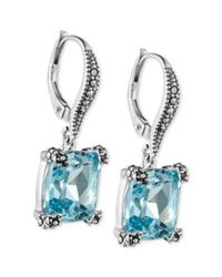 Judith Jack - Metallic Sterling Silver Blue Topaz 915 Ct Tw and Marcasite 13 Ct Tw Drop Earrings - Lyst
