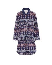 Tory Burch - Blue Cotton Drawstring Shirtdress - Lyst