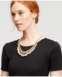 Ann Taylor | White Pearlized Bauble Necklace | Lyst
