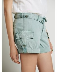 Free People - Green Womens Cargo Foldover Short - Lyst
