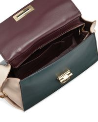Ferragamo - Brown Sofia Colorblock Leather Satchel Bag - Lyst