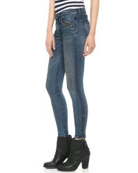 Rag & Bone | Blue Rbw 23 Crop Zipper Jeans - Oil Stain | Lyst