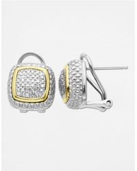Lord & Taylor | Metallic 14k Gold And Sterling Silver Diamond Pave Stud Earrings | Lyst
