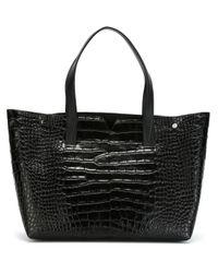 Vince | Black Stamped Crocodile Tote Bag | Lyst