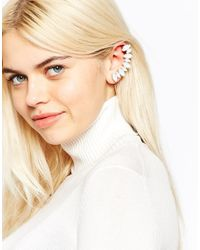 Monki | Metallic Jezzy Rhinestone Earring With Ear Cuff & Pin | Lyst