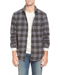 Wallin & Bros. Gray Thermal Lined Trim Fit Flannel Shirt for men