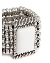 Philippe Audibert - White 'armel' Metal Bead Tier Rhinestone Ring - Lyst