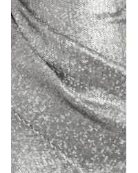 Donna Karan New York | Silver One-Shoulder Sequined Stretch-Mesh Gown | Lyst