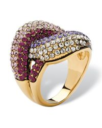 Palmbeach Jewelry - Shades Of Purple Crystal Knot Cocktail Ring Made With Swarovski Elements In Gold Ion-plated - Lyst