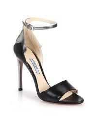 Prada | Black Metallic-trimmed Leather Sandals | Lyst