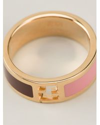 Fendi - Pink Logo Ring - Lyst