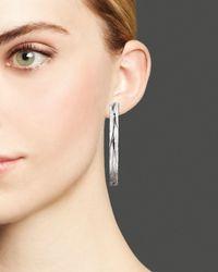 Roberto Coin - Metallic Sterling Silver And Ruthenium Large Hoop Earrings - Lyst
