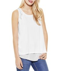 Two By Vince Camuto | White Double Layer Chiffon Tank | Lyst
