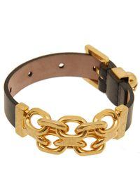 Alexander McQueen - Metallic Black Leather Chain Bracelet - Lyst