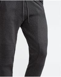 Zara   Gray Cotton Knit Trousers for Men   Lyst