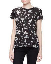 Proenza Schouler - Black Short-sleeve Jewel-neck Floral Tee - Lyst