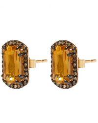 Suzanne Kalan | Metallic Gold Topaz Barrel Champagne Diamond Earrings | Lyst