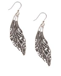 Lucky Brand - Metallic Silvertone Openwork Feather Earrings - Lyst