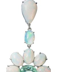 Nina Runsdorf | Blue 18K White Gold Opal And Paraiba Tourmaline Earrings With Diamond Rose Cuts | Lyst