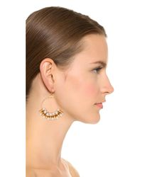 Kenneth Jay Lane | Metallic Imitataion Pearl Hoop Earrings - Gold/pearl | Lyst
