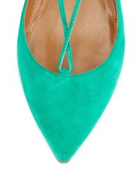 Aquazzura - Blue Christy Lace-Up Pointed-Toe Flats - Lyst