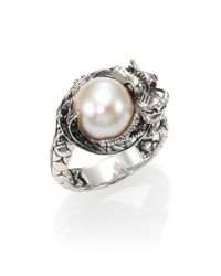 John Hardy | Metallic Naga 10.5Mm-11Mm White Freshwater Pearl, Black Sapphire, Ruby & Sterling Silver Small Dragon Ring | Lyst