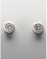 Lord & Taylor | Metallic Platinum Plated Sterling Silver Bezel Set Signity Cubic Zirconia Stud Earrings | Lyst