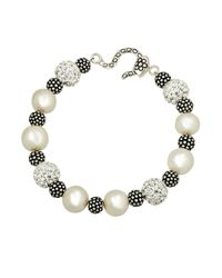 Lord & Taylor - White Sterling Silver Pearl And Crystal Bracelet With Oxidized Beads - Lyst